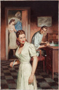 Pulp, Pulp-like, Digests, and Paperback Art, SAM CHERRY (American, 1903-1975). Young Nurse, paperback digestcover, 1954. Oil on canvas board. 24.75 x 16.25 in.. Sig...