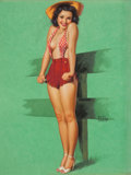 Pin-up and Glamour Art, EARL MORAN (American, 1893-1984). Pin-Up in Red. Pastel onboard. 27 x 20 in.. Signed center right. ...
