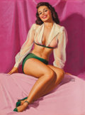 Pin-up and Glamour Art, EARL MORAN (American, 1893-1984). Brunette Pin-Up. Pastel onboard. 26.5 x 20 in.. Signed center right. ...