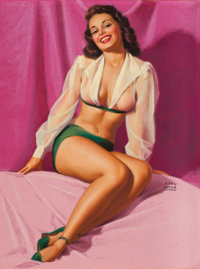 EARL MORAN (American, 1893-1984) Brunette Pin-Up Pastel on board 26.5 x 20 in. Signed center r