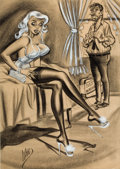 Pin-up and Glamour Art, BILL WARD (American, 1919-1998). It Was a Wonderful Honeymoon,But I Hated to Miss Christmas and New Years!. Mixed media...
