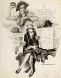 Mainstream Illustration, JAMES MONTGOMERY FLAGG (American, 1877-1960). Bus Ride Home,Blackbird and Company advertisement. Watercolor and pencil ...