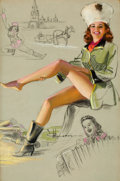 Pin-up and Glamour Art, KNUTE O. MUNSON (American, 20th Century). Russia. Pastel andcharcoal pencil on board. 24 x 16 in.. Signed lower center...