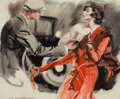 Mainstream Illustration, JAMES MONTGOMERY FLAGG (American, 1877-1960). A Struggle.Watercolor and pencil on board. 19 x 23 in.. Signed lower left...