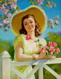 Pin-up and Glamour Art, ART FRAHM (American, 1906-1981). Lady in Yellow. Oil oncanvas. 29 x 23 in.. Signed lower left. From the Estate ofC...