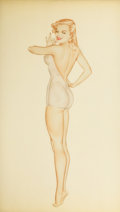 Pin-up and Glamour Art, ALBERTO VARGAS (American, 1896-1982). Esquire Pin-Up preliminarydrawing, January 1946. Watercolor and pencil on paper. ...