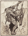 Mainstream Illustration, CHARLES NICHOLAS SARKA (American, 1879-1979). WWI Trench.Print. 12 x 9.5 in.. Signed lower right. ...