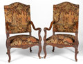 Furniture : French, A PAIR OF RÉGENCE STYLE NEEDLEWORK UPHOLSTERED WALNUT ARMCHAIRS .Unknown maker, possibly France, circa 1875-1900. Unmarked...(Total: 2 Items)