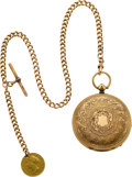 Timepieces:Pocket (pre 1900) , J. Hyland Massive 18k Gold Lever Fusee With 15k Gold Chain & 1861 Australian Sovereign, circa 1860. ...