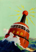 Pulp, Pulp-like, Digests, and Paperback Art, GEORGE ROZEN (American, 1895-1974). Radio Floating Seadrome,Modern Mechanix, pulp cover, March 1934. Oil on canvas. 30 ...