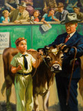 Mainstream Illustration, HY (HENRY) HINTERMEISTER (American, 1897-1972). Showing thePrize Calf. Oil on canvas. 28 x 21 in.. Signed lower left. ...