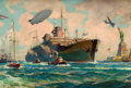 Mainstream Illustration, WILLIAM JAMES AYLWARD (American, 1875-1956). New YorkHarbor. Oil on board. 20 x 29.5 in.. Signed lower left. Fromt...