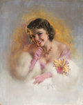 Pin-up and Glamour Art, ZOE MOZERT (American, 1904-1993). Woman with an Orchid.Pastel on board. 34.5 x 27.5 in.. Signed lower center. From...