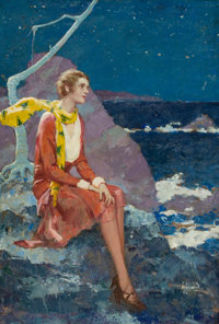 RALPH PALLEN COLEMAN (American, 1892-1968) Stars for Sale Oil on board 37 x 25 in. Signed lowe