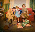 Mainstream Illustration, FREDERICK SANDS BRUNNER (American, 1886-1954). New Puppy.Oil on canvas. 31 x 34 in.. Signed lower right. From theE...