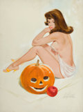 Pin-up and Glamour Art, FRITZ WILLIS (American, 1907-1979). Girl with Pumpkin, Brown& Bigelow calendar Pin-Up, October 1966. 0 x 0 in.. Signed...
