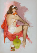 Pin-up and Glamour Art, FRITZ WILLIS (American, 1907-1979). Brunette in Red Coat, Brown& Bigelow Calendar Pin-Up, September 1962. Oil on canvas...