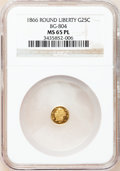 California Fractional Gold, 1866 25C Liberty Round 25 Cents, BG-804, R.4, MS65 ProoflikeNGC....