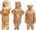 Football Collectibles:Uniforms, Circa 1970 Detroit Lions Original Mascot Costumes (3)....