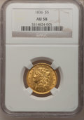 Classic Half Eagles, 1836 $5 AU58 NGC. Small Date, Breen-6508, McCloskey 5-D, R.3....
