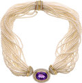 Estate Jewelry:Necklaces, Amethyst, Diamond, Cultured Pearl, Gold Convertible Necklace. ...