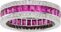 Estate Jewelry:Rings, Diamond, Ruby, White Gold Eternity Band. ...