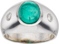 Estate Jewelry:Rings, Gentleman's Emerald, Diamond, White Gold Ring. ...