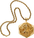 Estate Jewelry:Necklaces, Diamond, Gold Pendant-Necklace, French. ...