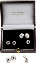 Estate Jewelry:Cufflinks, Diamond, Mother-of-Pearl, Sterling Silver Dress Set, English. ...