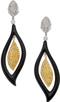 Estate Jewelry:Earrings, Yellow Sapphire, Diamond, Black Onyx, Gold Earrings. ...