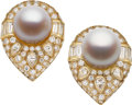 Estate Jewelry:Earrings, South Sea Cultured Pearl, Diamond, Gold Earrings. ...
