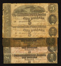 Confederate Notes:1864 Issues, T68 $10 1864 Three Examples. T69 $5 1864 Two Examples.. ... (Total: 5 notes)