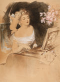 Mainstream Illustration, HENRY HUTT (American, 1875-1950). The Piano Lesson.Watercolor, pencil, and gouache on paper. 31 x 23 in.. Signed lower...