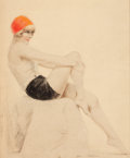 Pin-up and Glamour Art, CHARLES GATES SHELDON (American, 1889-1960). Seated Model.Pastel on board. 19 x 15 in.. Signed lower right. From th...