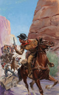 Pulp, Pulp-like, Digests, and Paperback Art, GLENN CRAVATH (American, 1897-1964). The Old West #4. Mixedmedia on board. 28.5 x 18 in.. Not signed. From the Esta...
