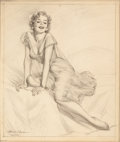 Pin-up and Glamour Art, HARRY EKMAN (American, 1923-1999). Posing. Pencil on paper.20 x 17 in.. Signed lower left. From the Estate of Charl...