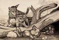 Mainstream Illustration, AMERICAN ARTIST (20th Century). Sleeping Monkey with Foxes.Conte crayon, ink wash, and pencil on board. 20 x 30 in.. No...