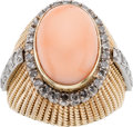 Estate Jewelry:Rings, Coral, Diamond, Gold Ring, August Moon Co.. ...