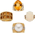 Estate Jewelry:Lots, Citrine, Opal, Mabe Pearl, Diamond, Gold Rings. ...