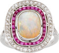 Estate Jewelry:Rings, Opal, Diamond, Ruby, White Gold Ring. ...