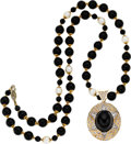 Estate Jewelry:Necklaces, Black Onyx, Cultured Pearl, Diamond, Gold Enhancer-Necklace. ...