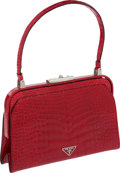 "Luxury Accessories:Bags, Prada Shiny Red Alligator Classic Frame Bag, 9"" x 6"" x 2.5"", Pristine Condition. ..."