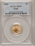 Modern Bullion Coins: , 1994 G$5 Tenth-Ounce Gold Eagle MS69 PCGS. PCGS Population (872/7).NGC Census: (1448/325). Mintage: 206,380. Numismedia Ws...