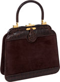 Luxury Accessories:Bags, Judith Leiber Brown Suede & Alligator Top Handle Bag. ...