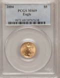 Modern Bullion Coins, 2004 G$5 Tenth-Ounce Gold Eagle MS69 PCGS. PCGS Population(7020/238). NGC Census: (6305/3677). Numismedia Wsl. Price for ...