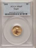 Modern Bullion Coins: , 2001 G$5 Tenth-Ounce Gold Eagle MS69 PCGS. PCGS Population(2222/33). NGC Census: (5760/3355). Numismedia Wsl. Price for p...