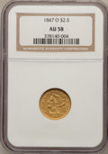Liberty Quarter Eagles, 1847-O $2 1/2 AU58 NGC....