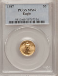 Modern Bullion Coins: , 1987 G$5 Tenth-Ounce Gold Eagle MS69 PCGS. PCGS Population(1148/6). NGC Census: (1855/77). Mintage: 580,226. Numismedia Ws...