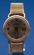Timepieces:Wristwatch, Bulova 14k Gold Automatic Wristwatch For Restoration. ...