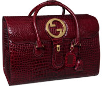 "Gucci Important 1960's Special Order Bordeaux Crocodile Heritage Logo Weekender Bag, 17.5"" x 13"" x 9"", Ex..."
